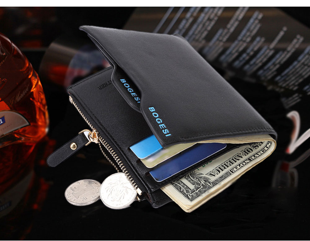 Men Solid Color Letter Embellishment Open Zipper Wallet