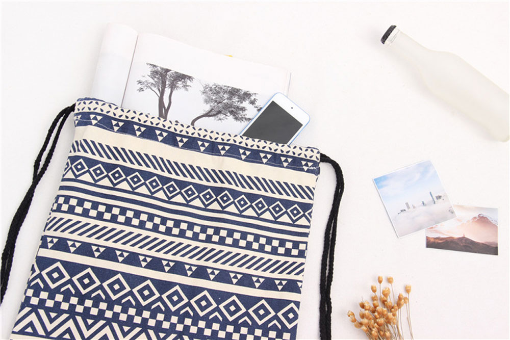 Women Ethnic Striped Geometric Print Tensibility Rope Canvas Backpack