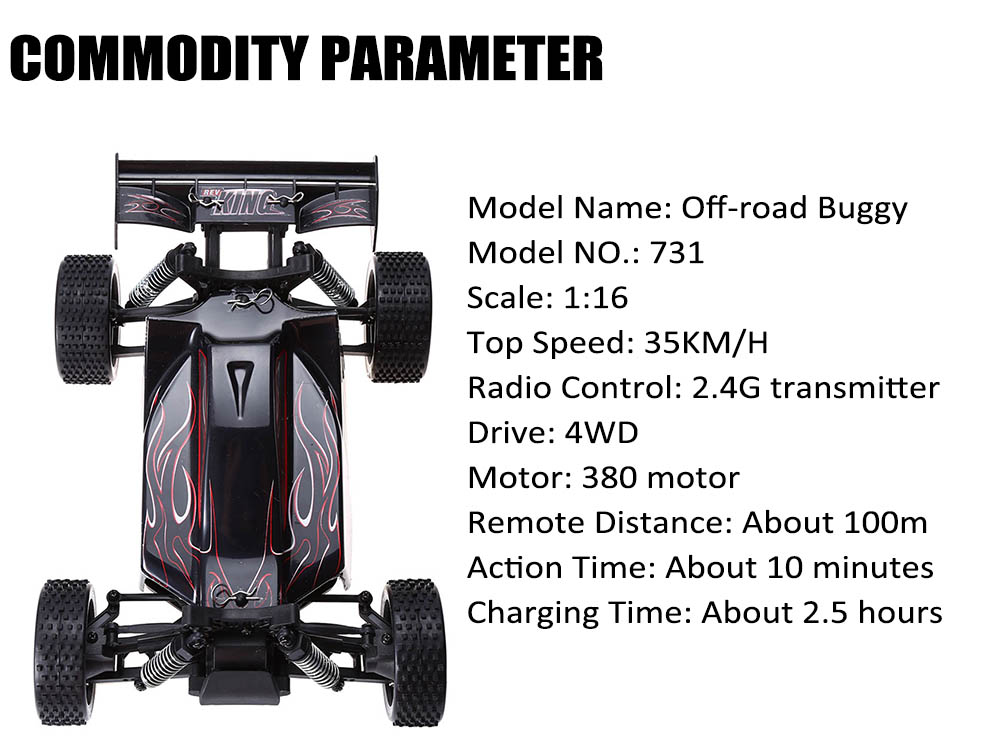 Huanqi 731 2.4GHz 1:16 4WD 35KM/H Remote Control Off-road Buggy RTR