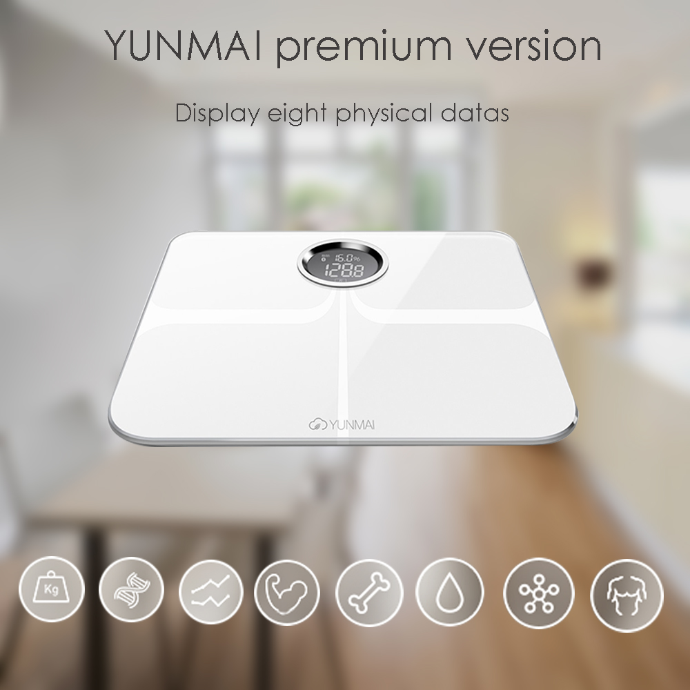 YUNMAI M1301 App Control Bluetooth Smart Body Fat Electronic Scale ITO Tempered Glass Surface