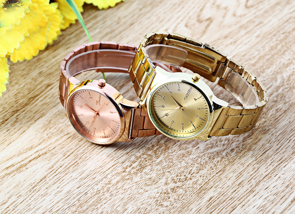 Women Quartz Watch Arabic Numerals Display Stainless Steel Band Fashion Wristwatch