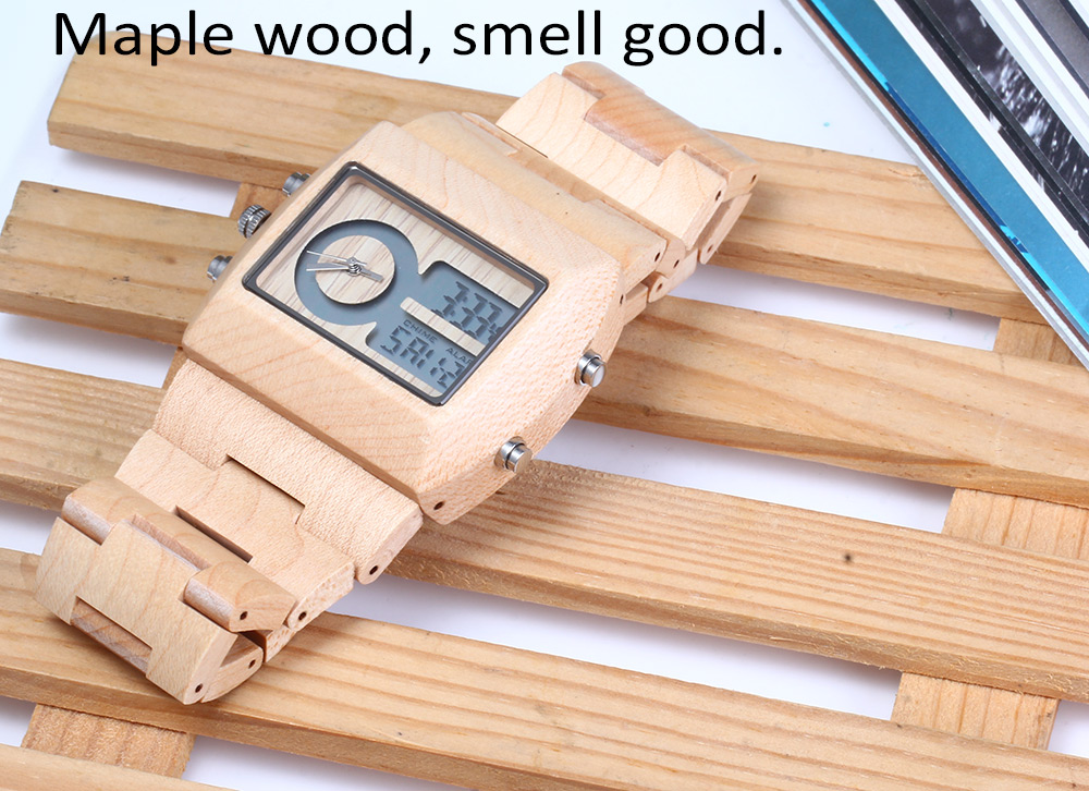 BEWELL ZS - W021A Dual Movt Men Watch  Wooden Case Date Day Display Wristwatch