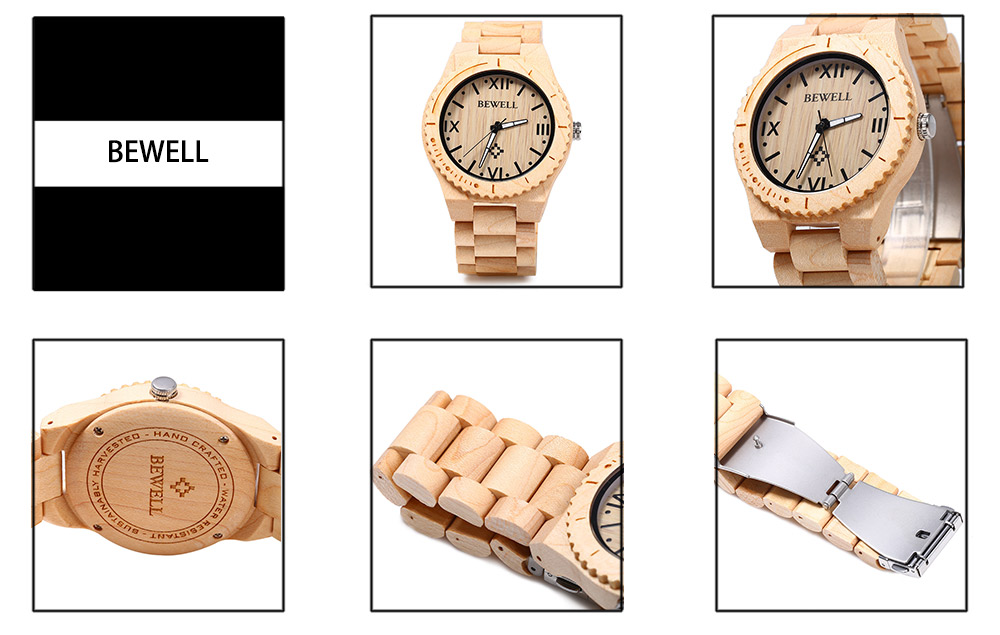 BEWELL ZS - W065A Wood Men Quartz Watch Roman Numeral Scales Wristwatch