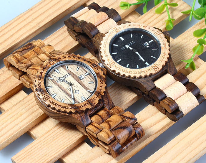 BEWELL ZS - W023A Men Wooden Bangle Quartz Watch with Calendar Display Wristwatch