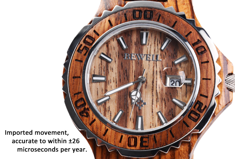 BEWELL ZS-100BG Wooden Men Quartz Watch with Luminous Hands 30M Water Resistance Wristwatch