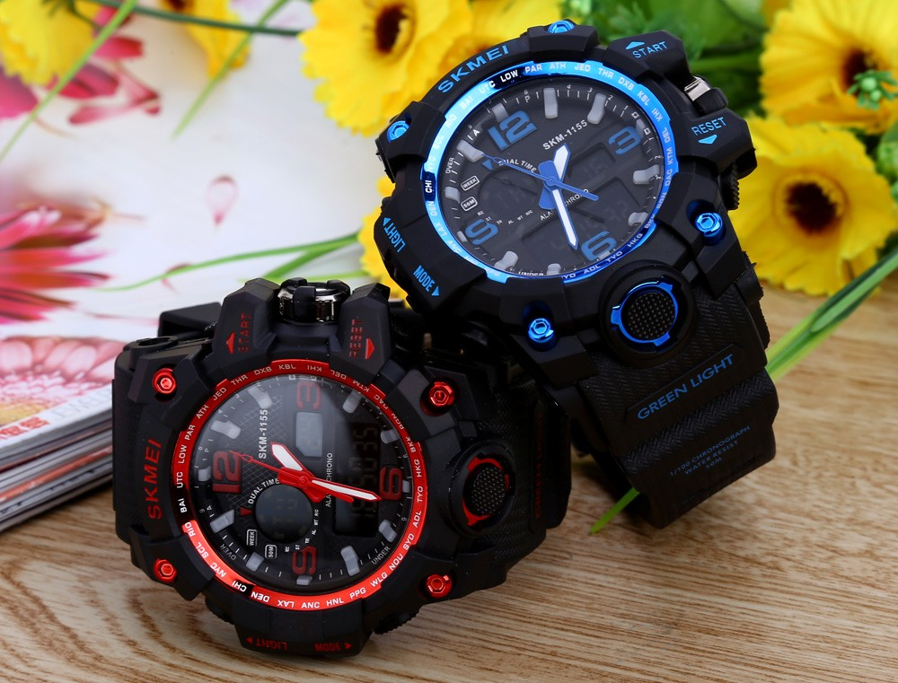 SKMEI 1155 Men Double Movement Watch Water Resistance Dual Time Alarm Light Wristwatch