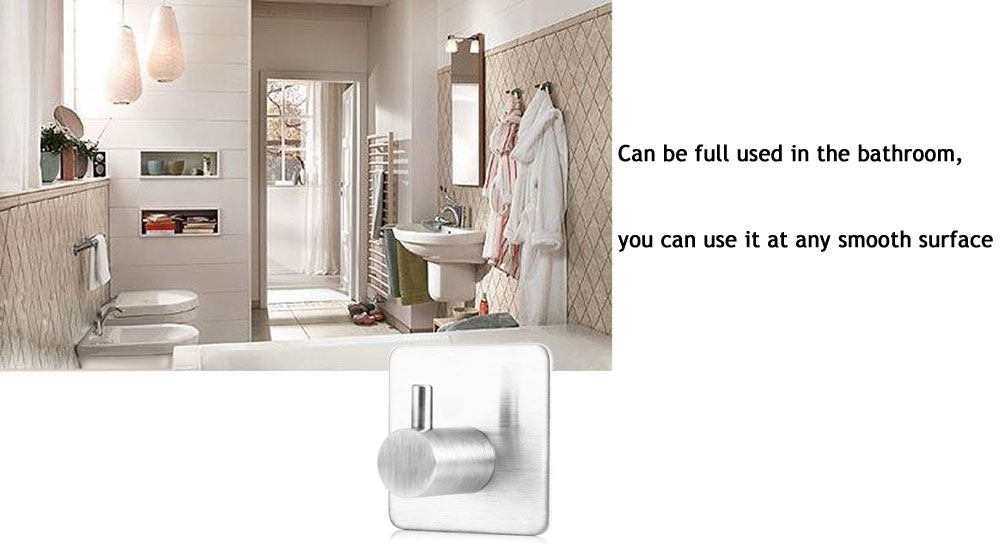 Bathroom Wall Stainless Steel Hanger Adhesive Heavy Duty Hooks