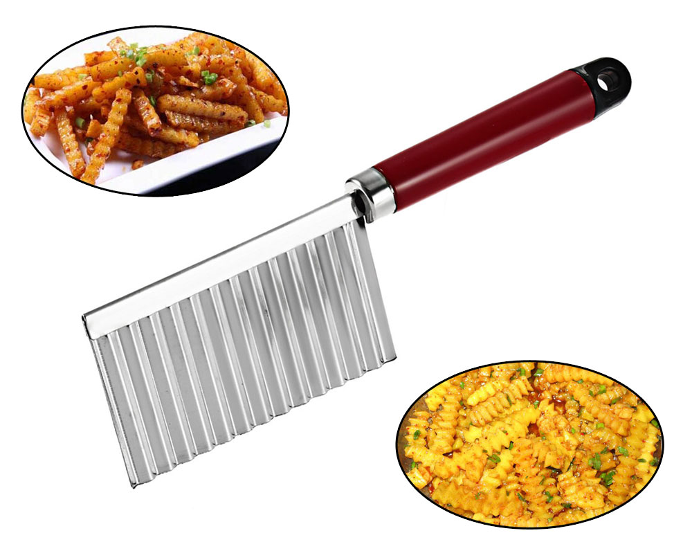 Potato Wavy Edged Stainless Steel Plastic Handle Kitchen Gadget Cooking Tools
