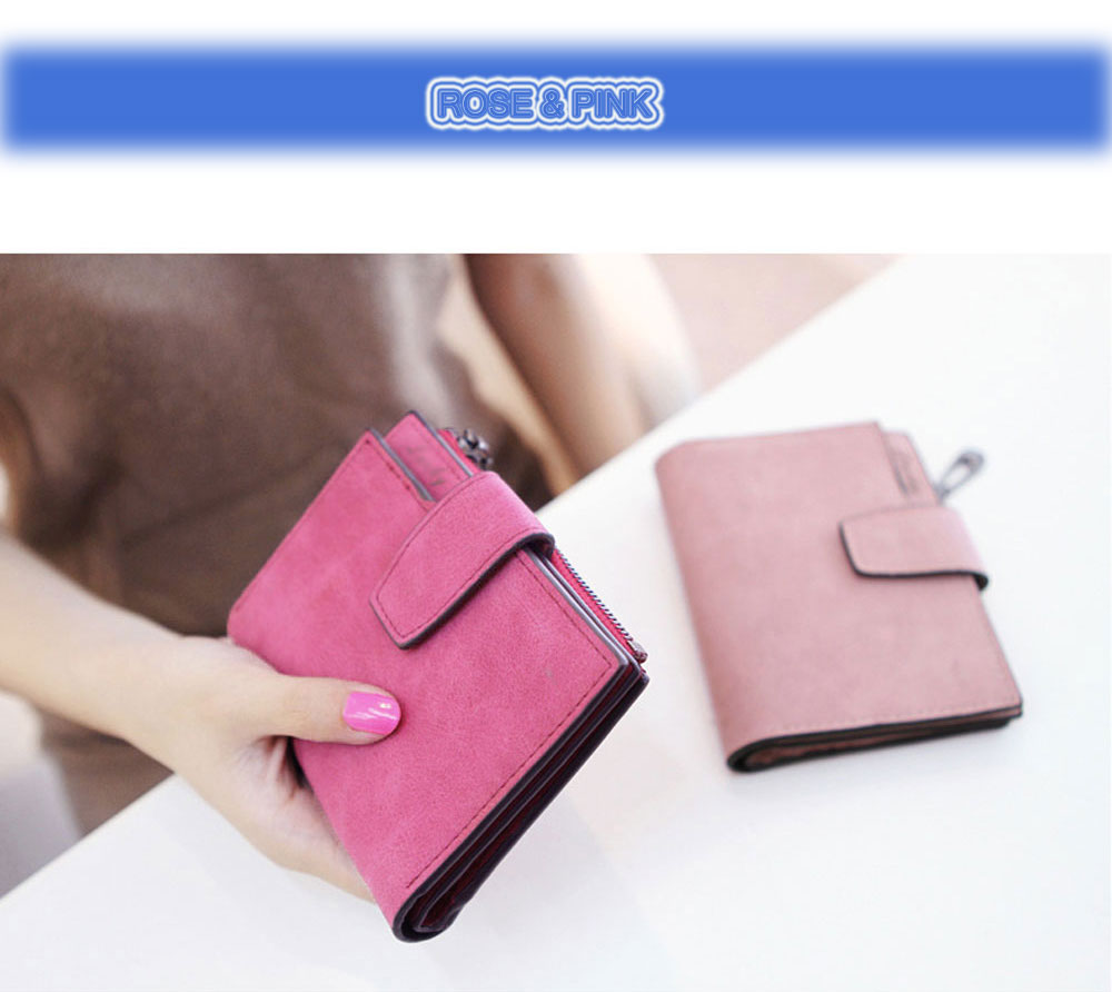 Lady Solid Color Letter Snap Fastener Zipper Short Clutch Wallet