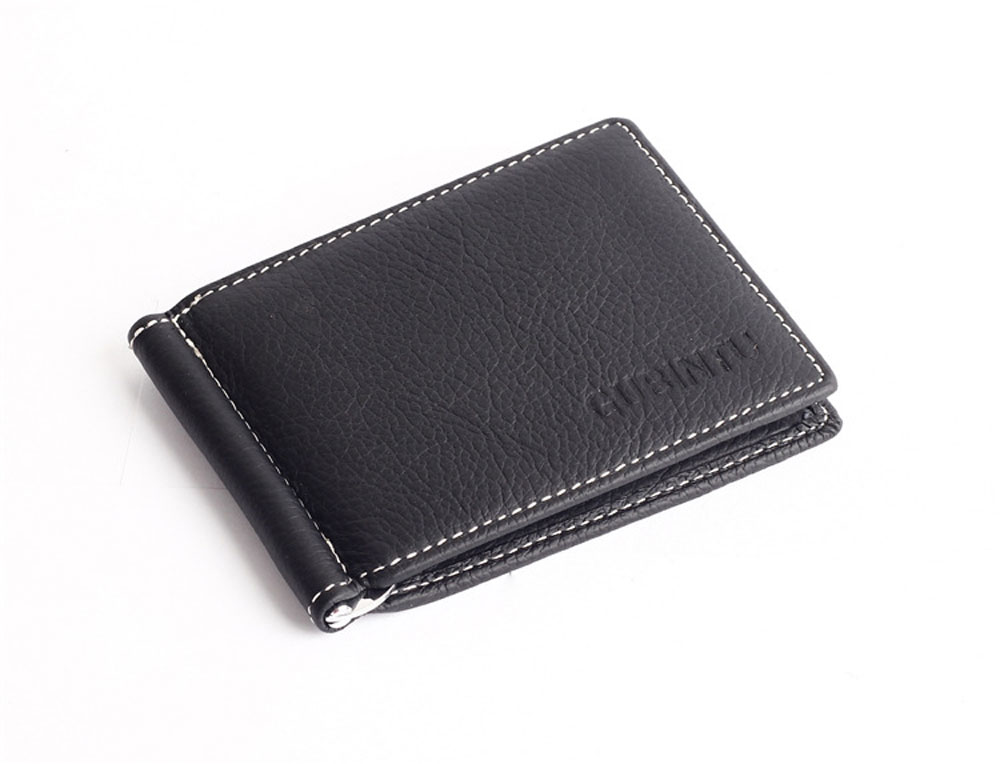 Men Solid Color Letter Lichee Pattern Horizontal Metal Money Clip Open Wallet