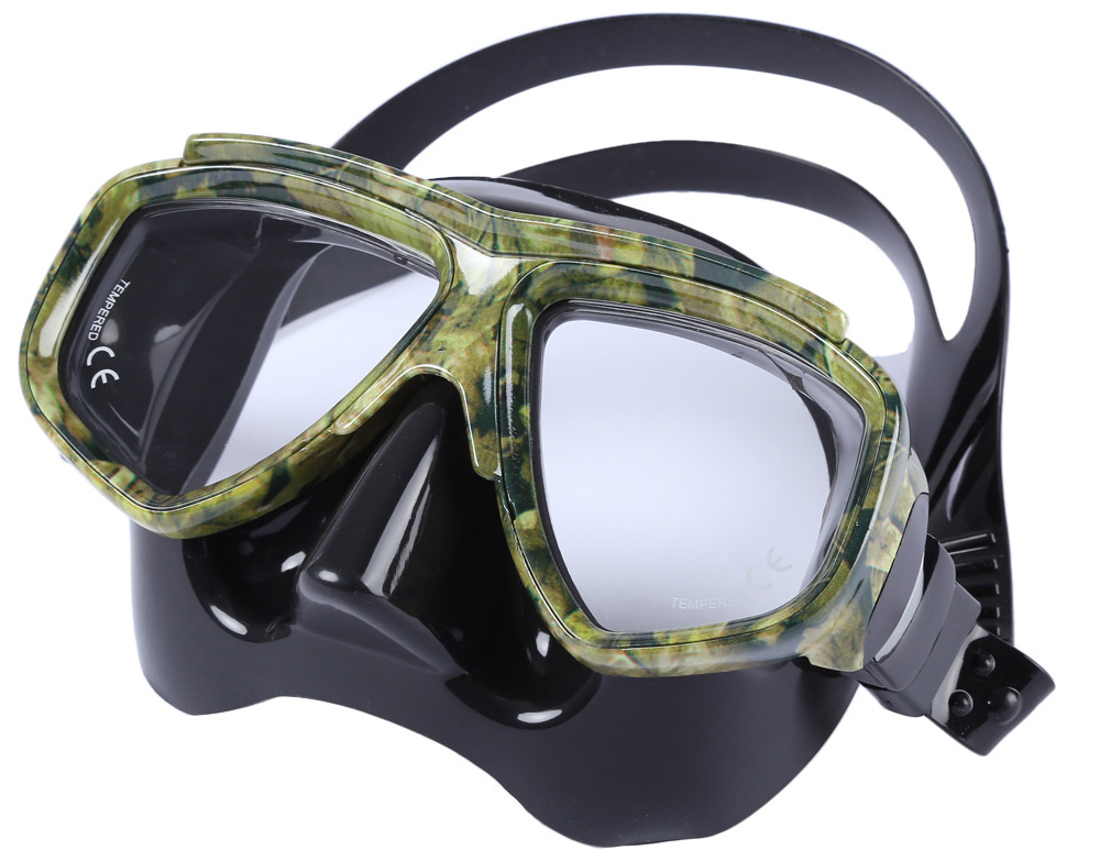 Diving Spearfishing Mask Scuba Gear with Tempered Glass Lens