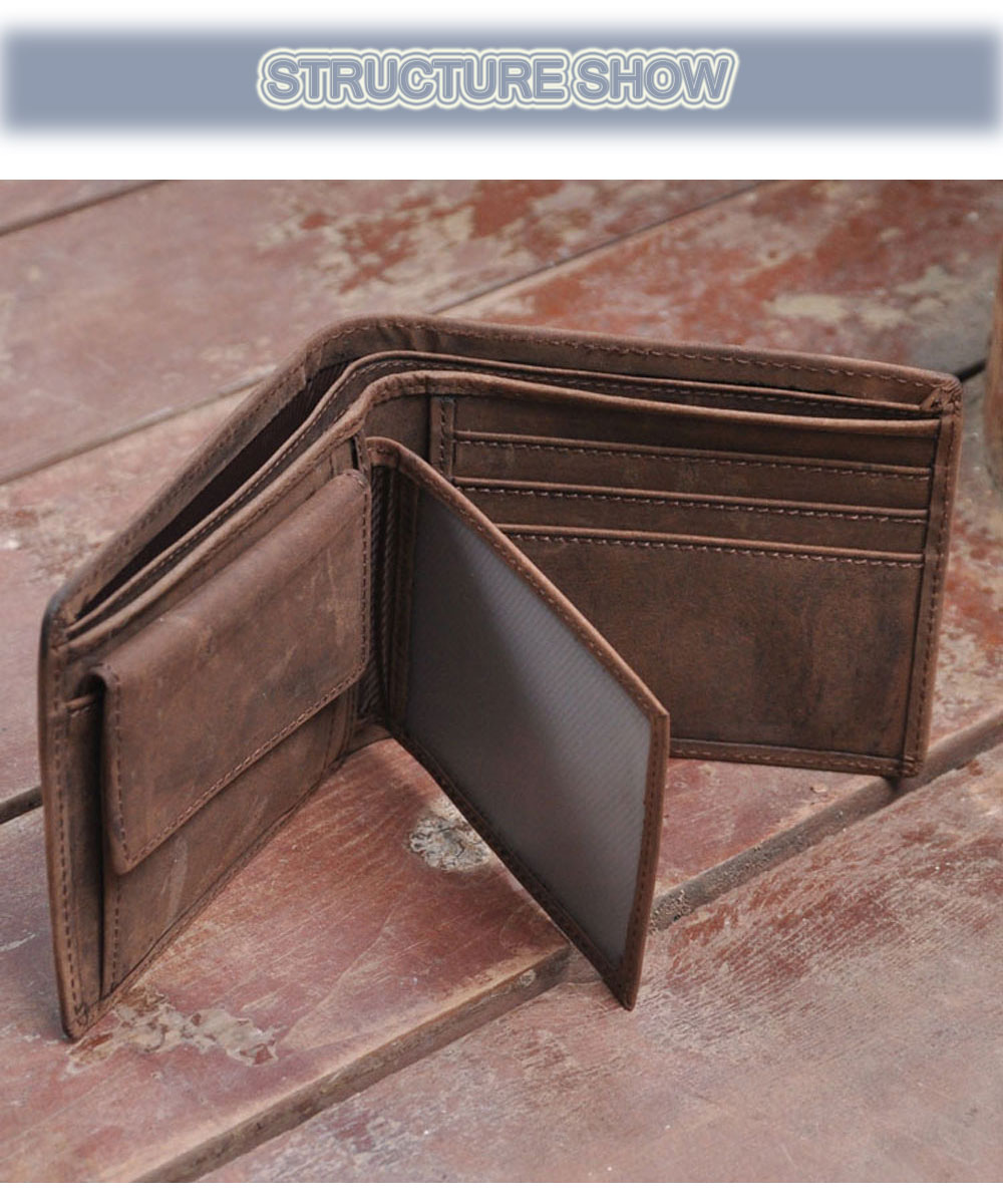 Men Solid Color Crazy Horse Leather Open Horizontal Wallet