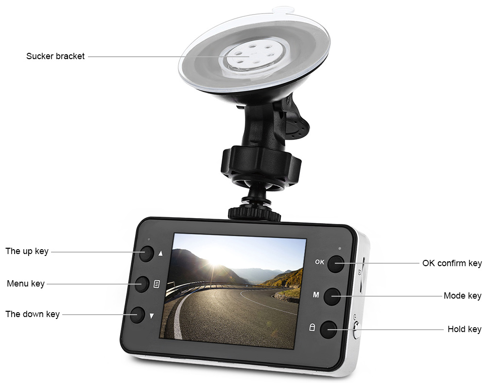 K6000 2.7 Inch Car DVR Recorder Full HD 1080P 140 Degree Wide Angle Loop Cycle Recording