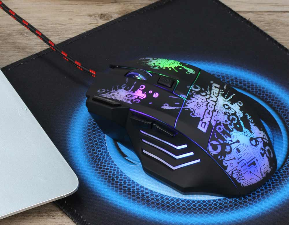 Excelvan 3200DPI 7 Buttons LED USB Wired Gaming Mouse for Pro Gamer