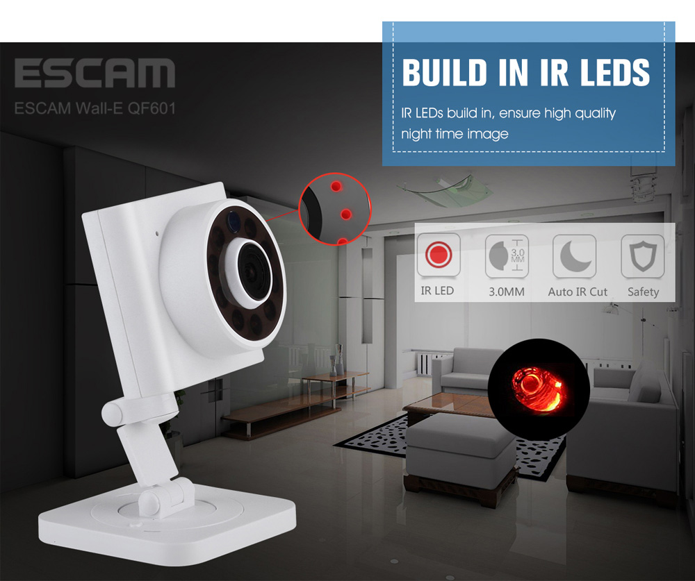 ESCAM Wall E QF601 720P Wireless WiFi IP Camera with Motion Detection