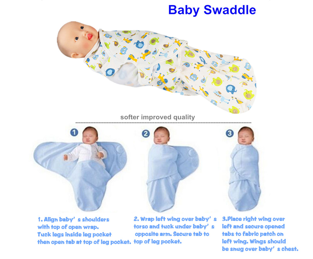 Cute Cartoon Printed Soft Newborn Babies Hold Swaddling Wrap Cloth