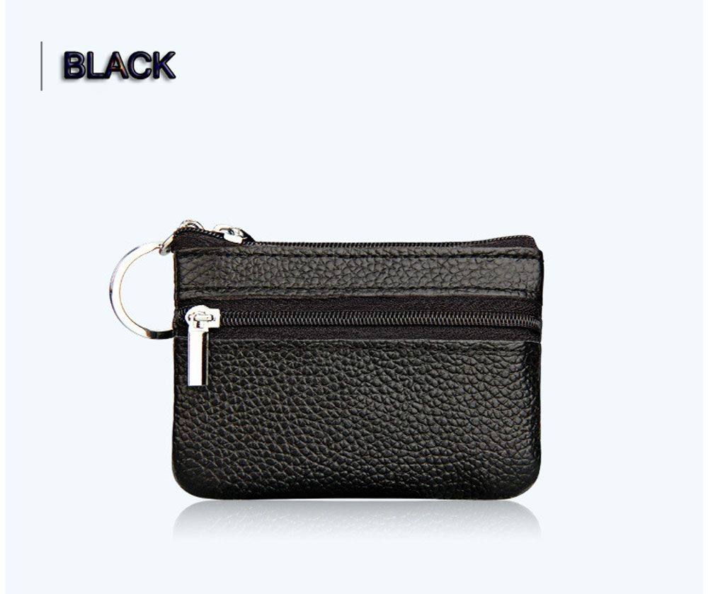Unisex Solid Color Leather Zipper Horizontal Coin Purse