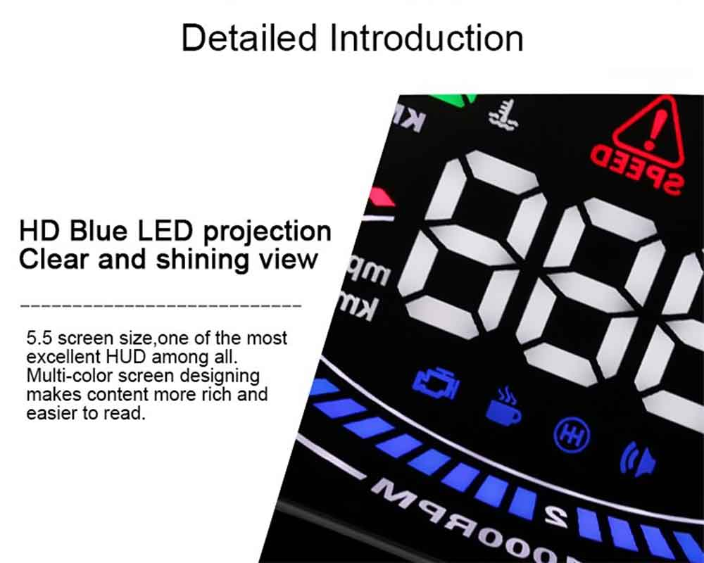 E300 Upgrade Version 5.5 inch Car HUD Head Up Display Speed RPM Water Temp OBDII Interface 2D Vision Effect