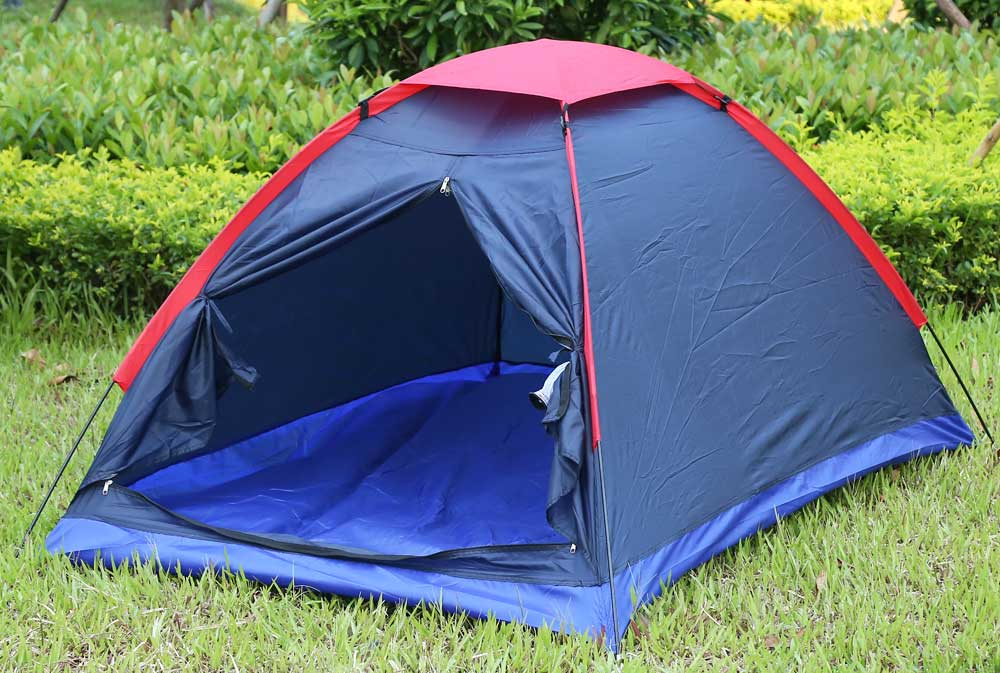 Outdoor Camping Polyester Fiber Tent Fiberglass Pole for Two Persons with Bag for Picnic Travel Hiking Adventure