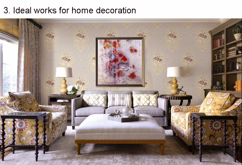 5D DIY Diamond Painting Rhinestone Cross Stitch Goldfish Crystal Pasted Home Decoration