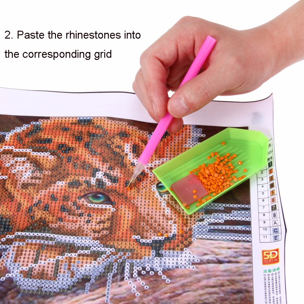 5D DIY Diamond Painting Rhinestone Cross Stitch Small Tiger Crystal Pasted Home Decoration