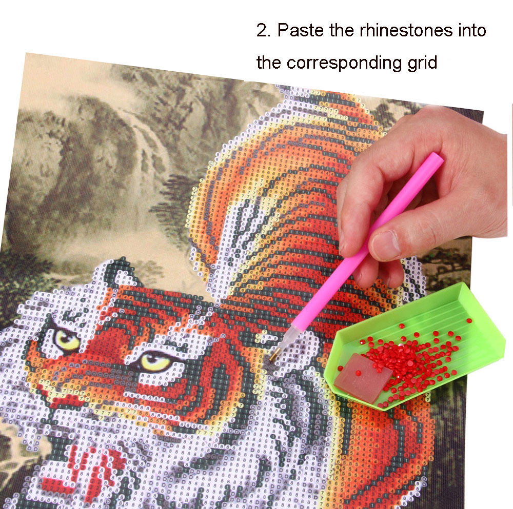 5D DIY Diamond Painting Rhinestone Cross Stitch Tiger Mountain Crystal Pasted Home Decoration