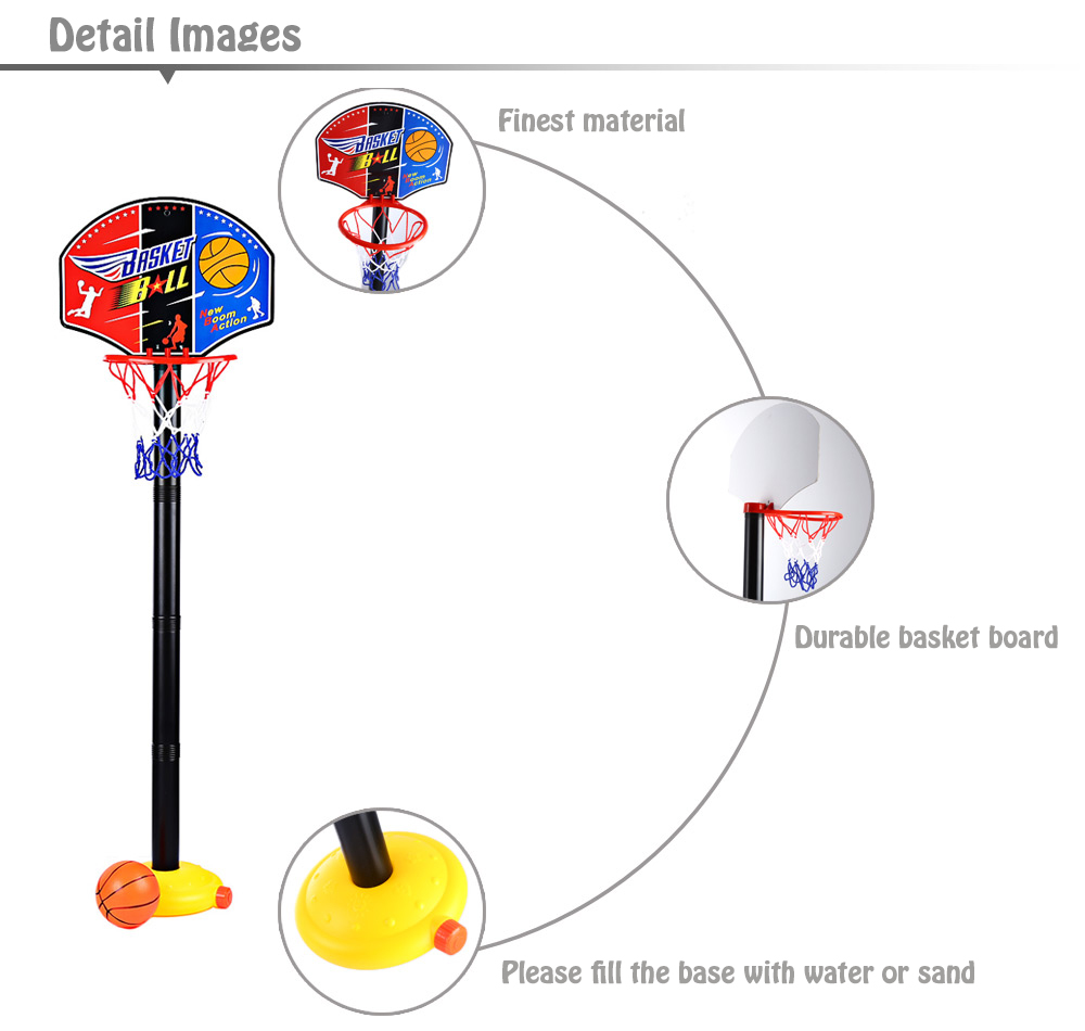 Adjustable Basketball Stand Super Sport Set Kid Toy with Inflator