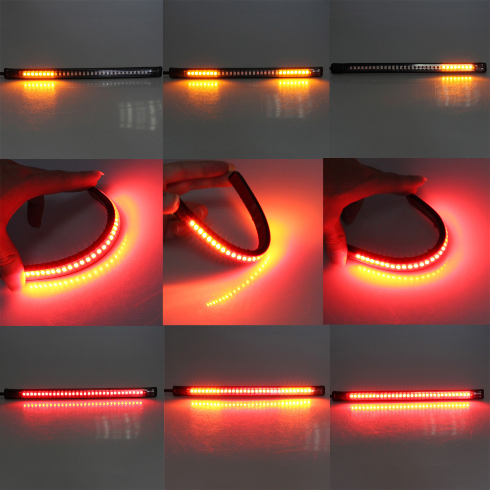SMD Motorcycle Flexible 12V 5W 32 LED Light Strip Water Resistance Tail Brake Stop Turn Signal License Plate Lamp
