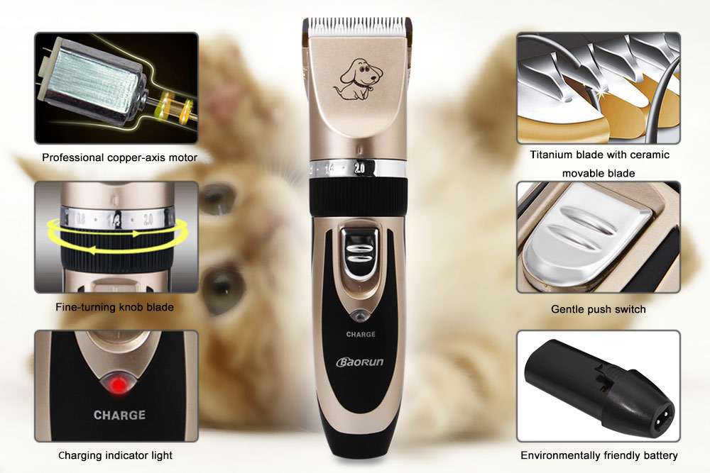 Professional Rechargeable Cordless Pet Hair Clipper with Grooming Kit for Small Large Dogs Cats House Animals