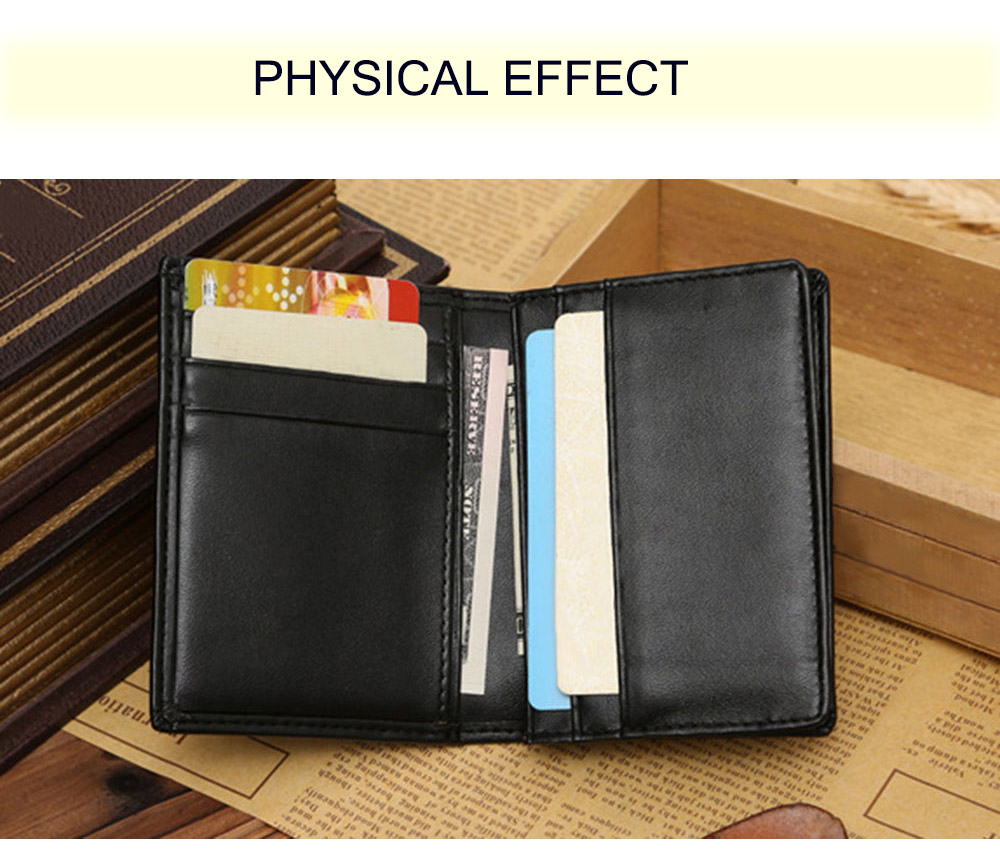 Men Solid Color Letter Open Horizontal Clutch Card Wallet