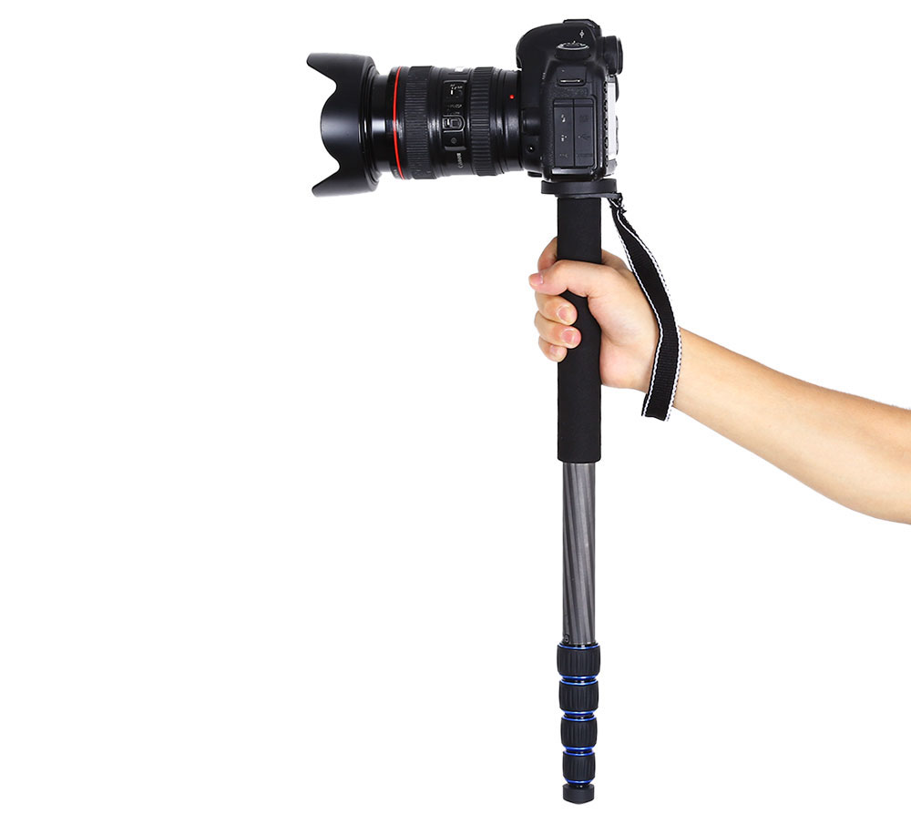 63 Inches Carbon Fiber Extendable 5-section Camera Monopod with Carrying Bag
