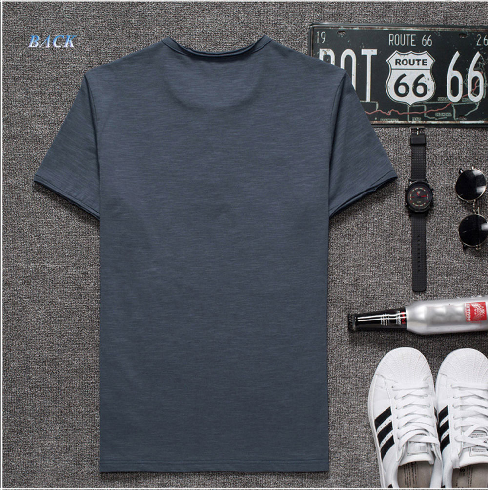 Casual Pure Color Modal Slim Round Neck Short Sleeve Men T-shirt