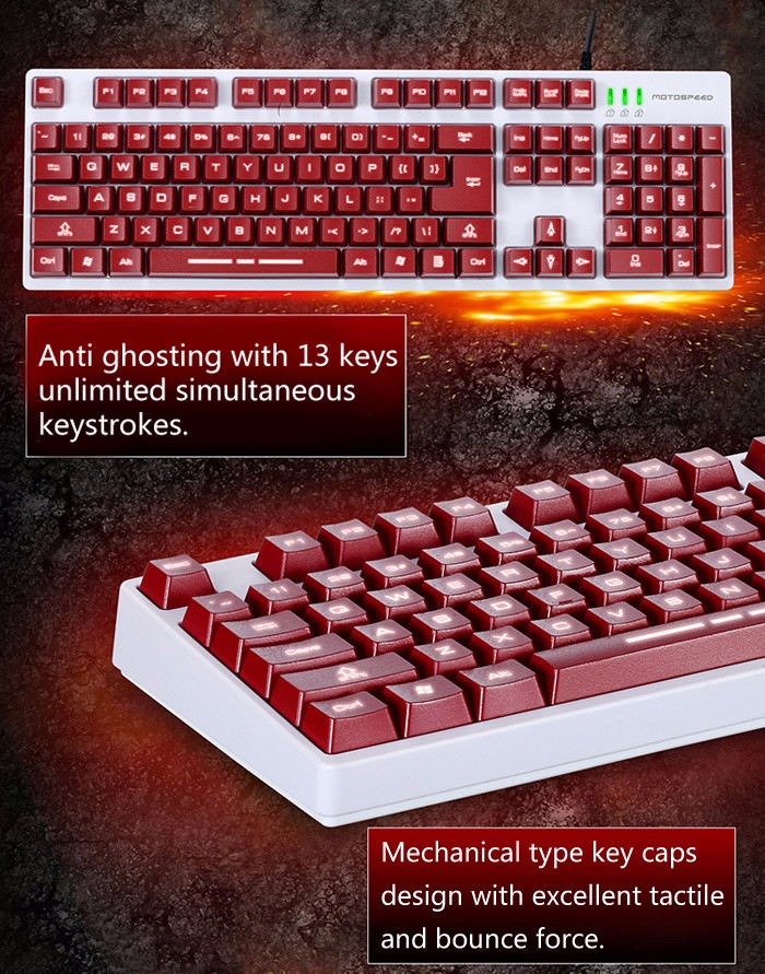 Motospeed K40L Gaming Keyboard Mechanical Feeling with Backlight for Pro Gamers