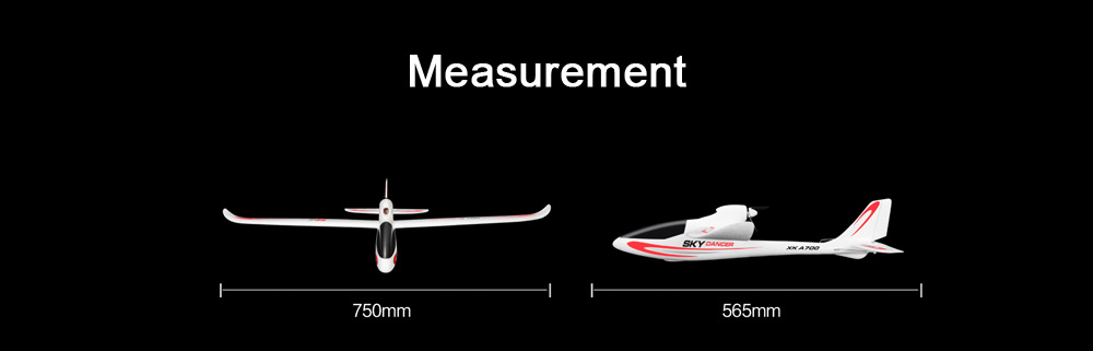XK A700C 3 Channel 2.4G Radio Control Fixed-wind Glider RTF Airplane Aircraft Toy