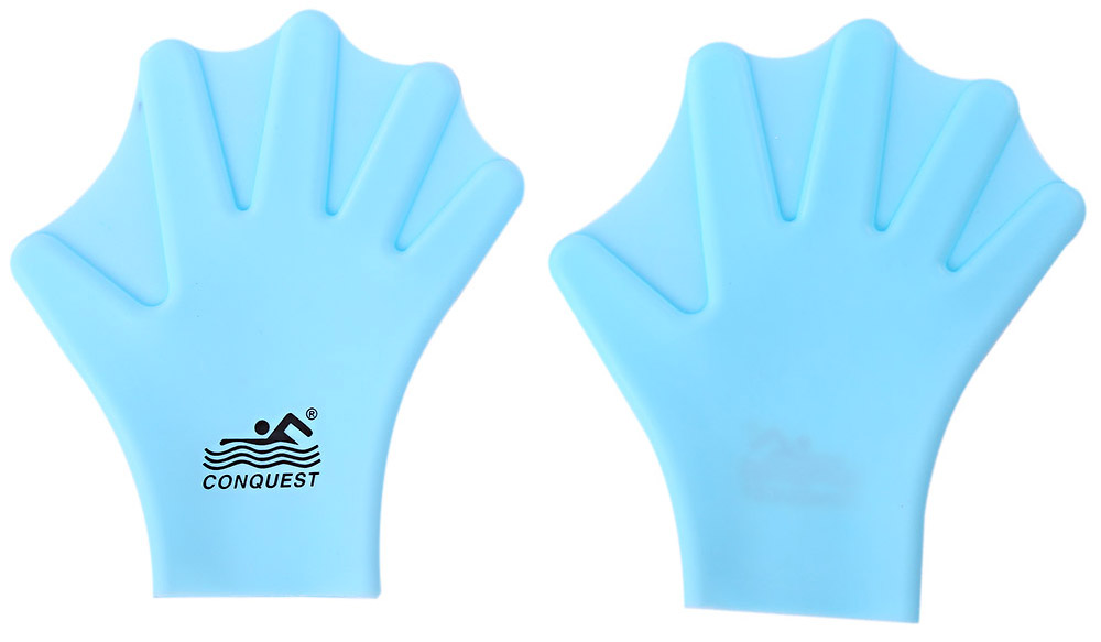 Conquest Paired Swimming Adult Webbed Gloves Swimming Finger Fin Hand Silicone Paddle Wear