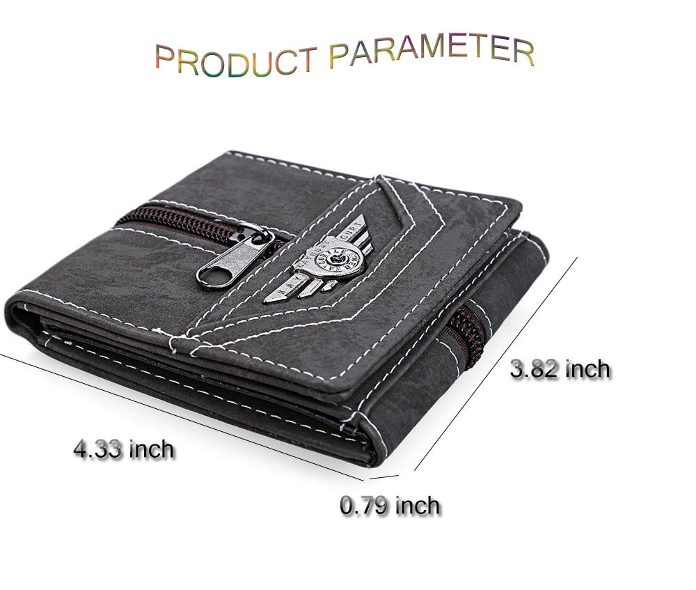 Punk Men Zipper Snap Fastener Letter Canvas Short Wallet