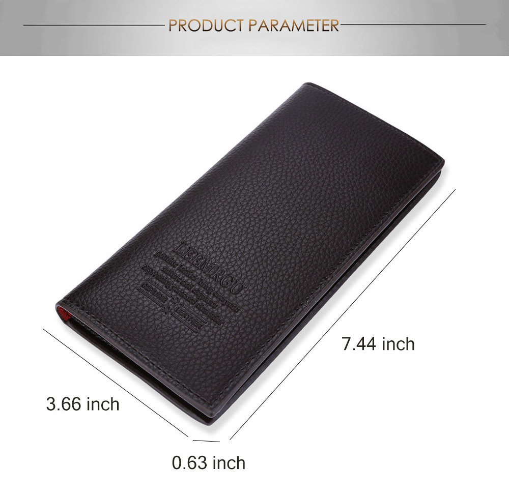 Men Lichee Pattern Solid Color Letter Open Soft Vertical Long Wallet