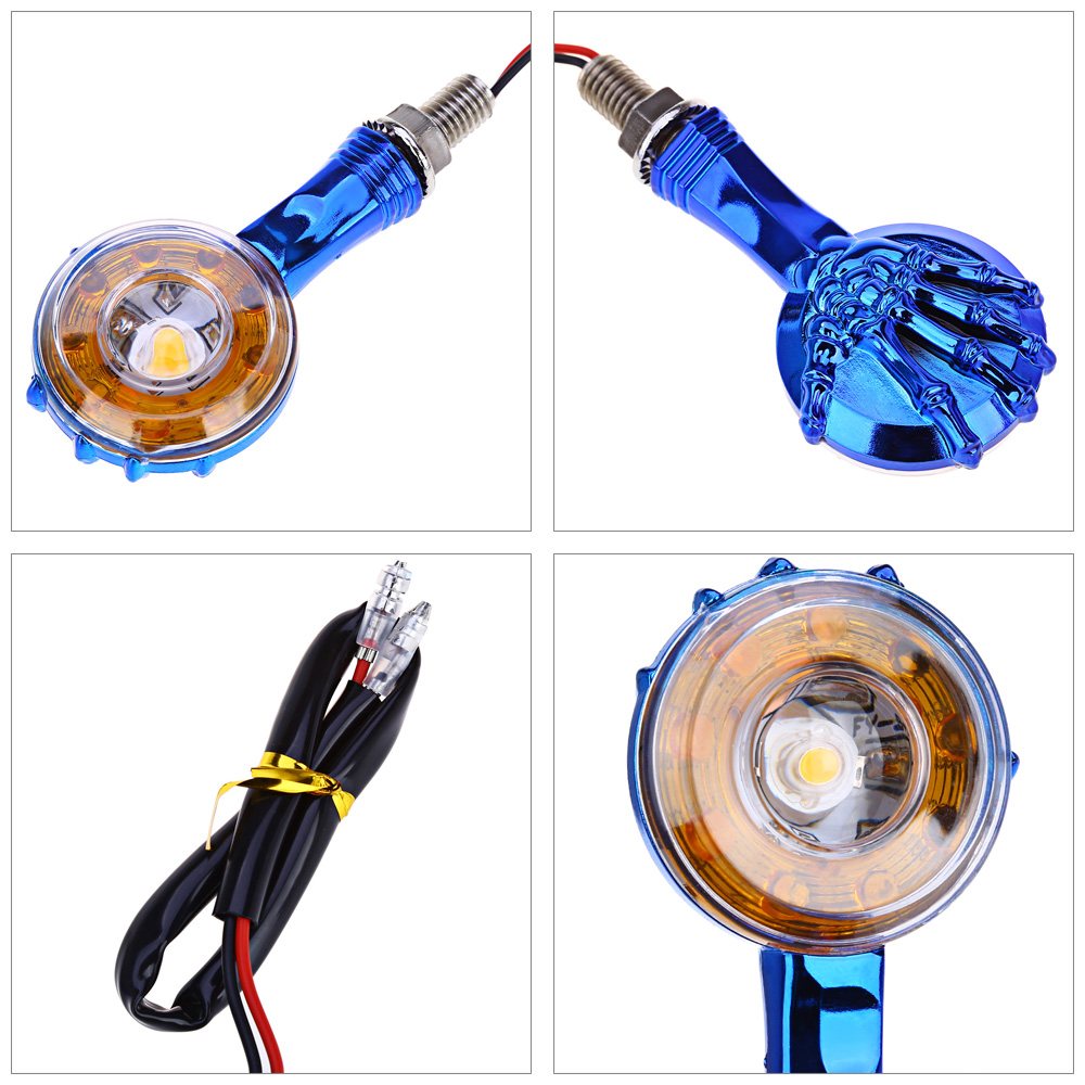 2pcs 12V Motorcycle Motorbike Amber 10-LED Turn Signal Light Circular Ghost Hand Bulb Indicator