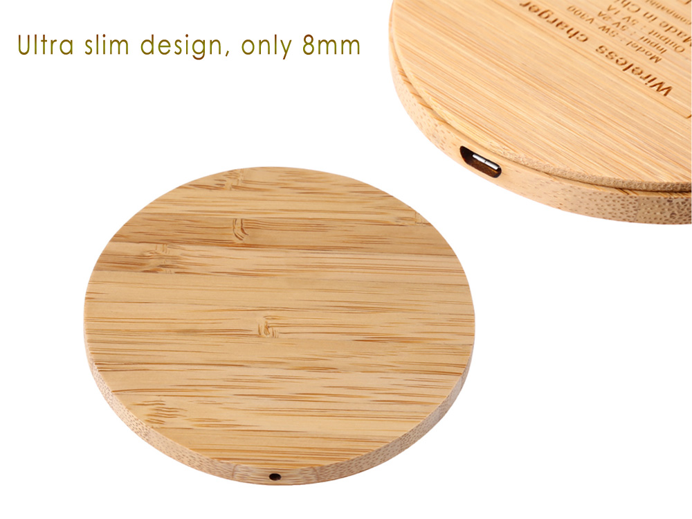 Square Shape Portable Qi Wireless Charger Ultra Thin Wood Series