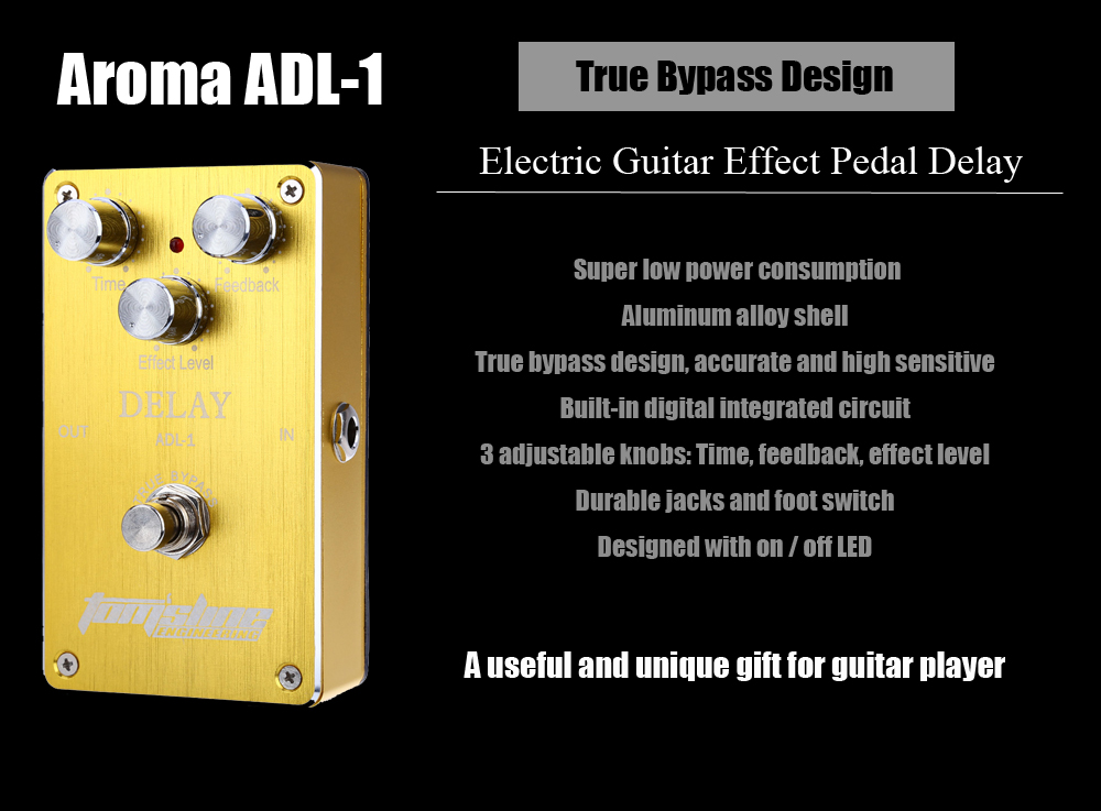Aroma ADL - 1 Electric Guitar Effect Pedal Delay True Bypass Design