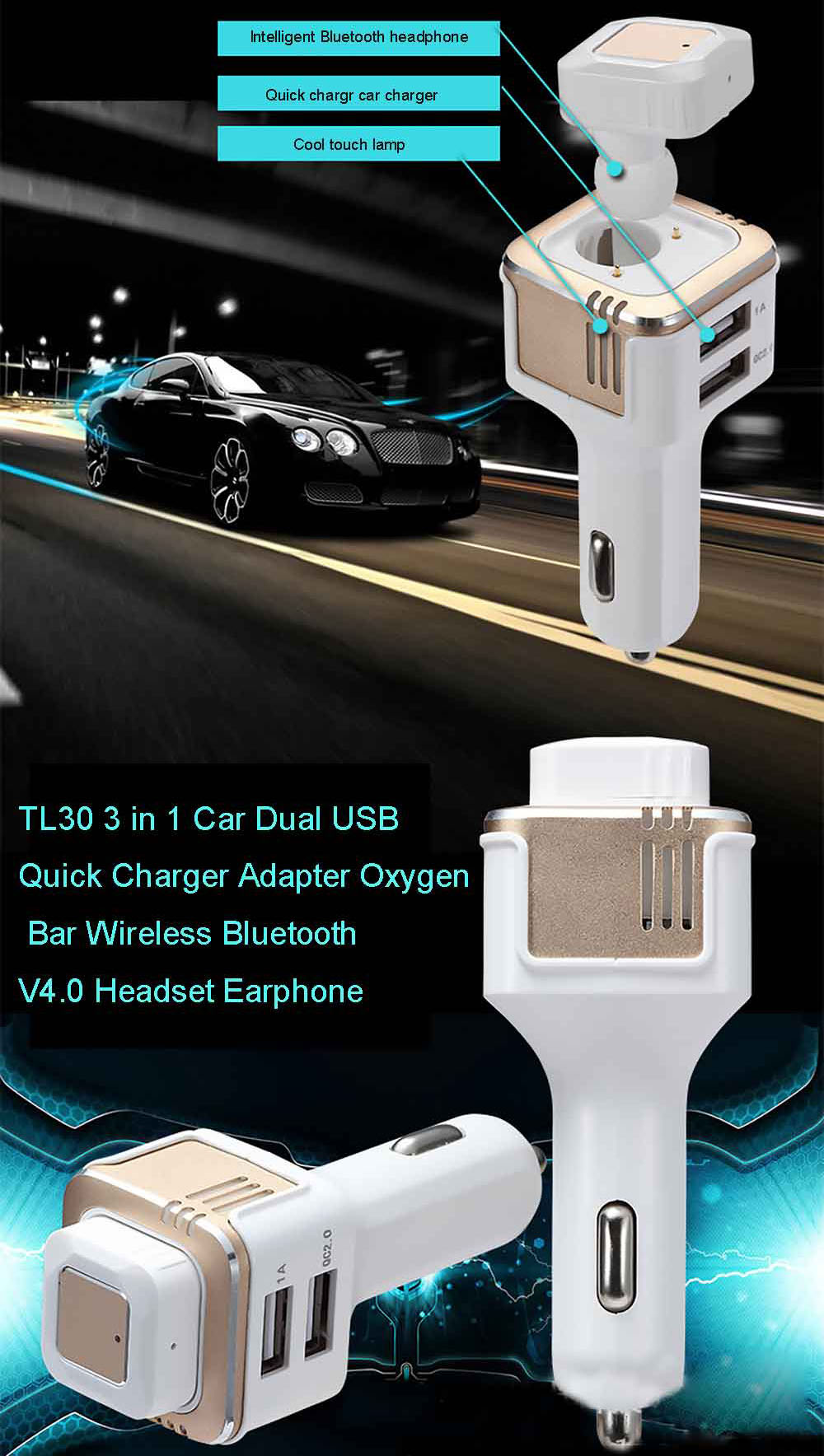 TL20 3 in 1 Car Dual USB Quick Charger Adapter Oxygen Bar Wireless Bluetooth V4.0 Headset Earphone
