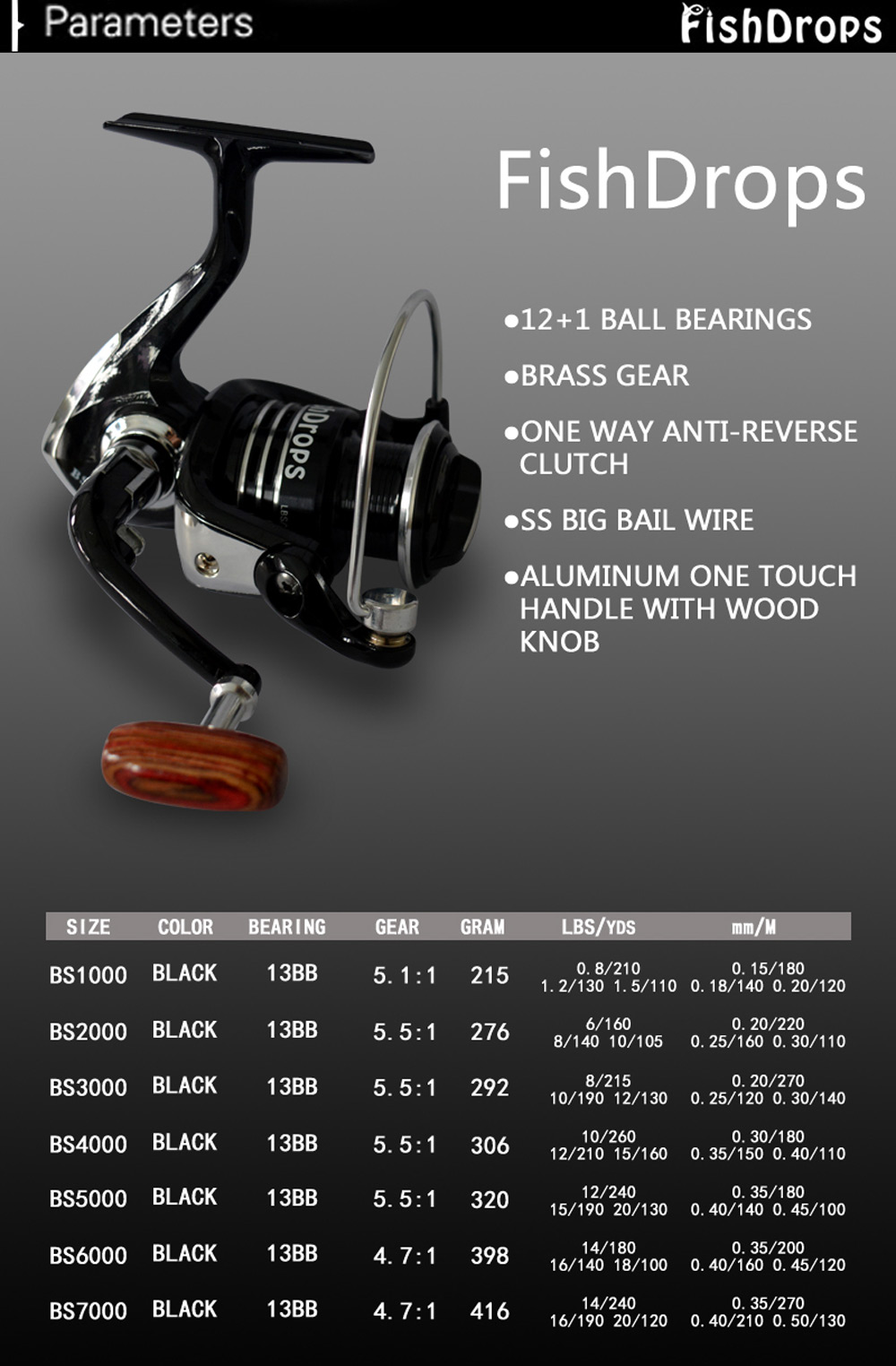 Fishdrops 13BB One Way Clutch Size 1000 - 7000 Full Metal Spool Spinning Carp Fishing Reel