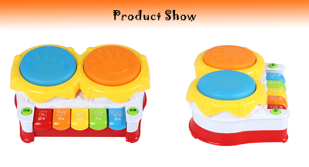 6 in 1 Multifunctional Electric Story Drum Piano Keyboard Kids Early Educational Toy