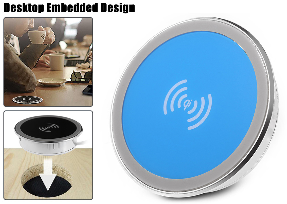 Qi Compact Desktop Embedded Wireless Charger