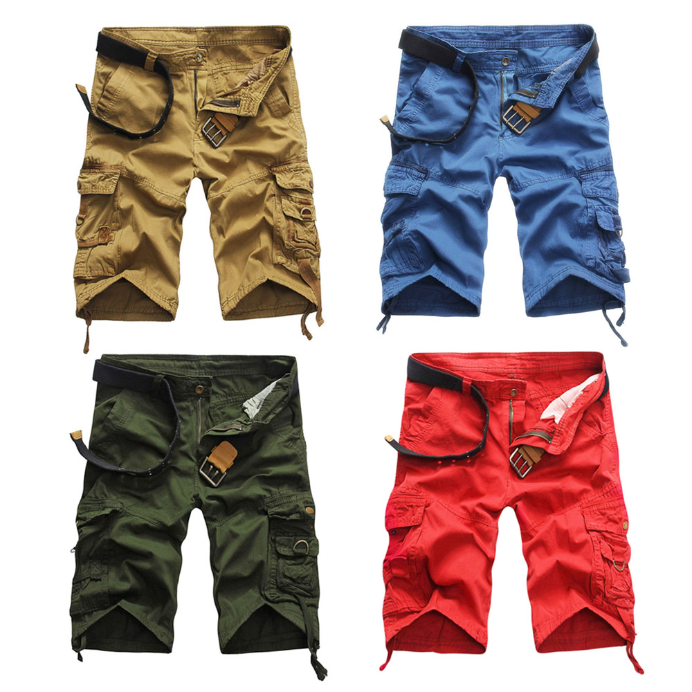 Casual Mid Waist Solid Color Loose-fitting Cotton Shorts for Men