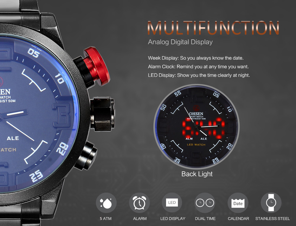OHSEN AD1608 Male Dual Movt Quartz Digital Watch LED Display 5ATM Calendar Military Wristwatch