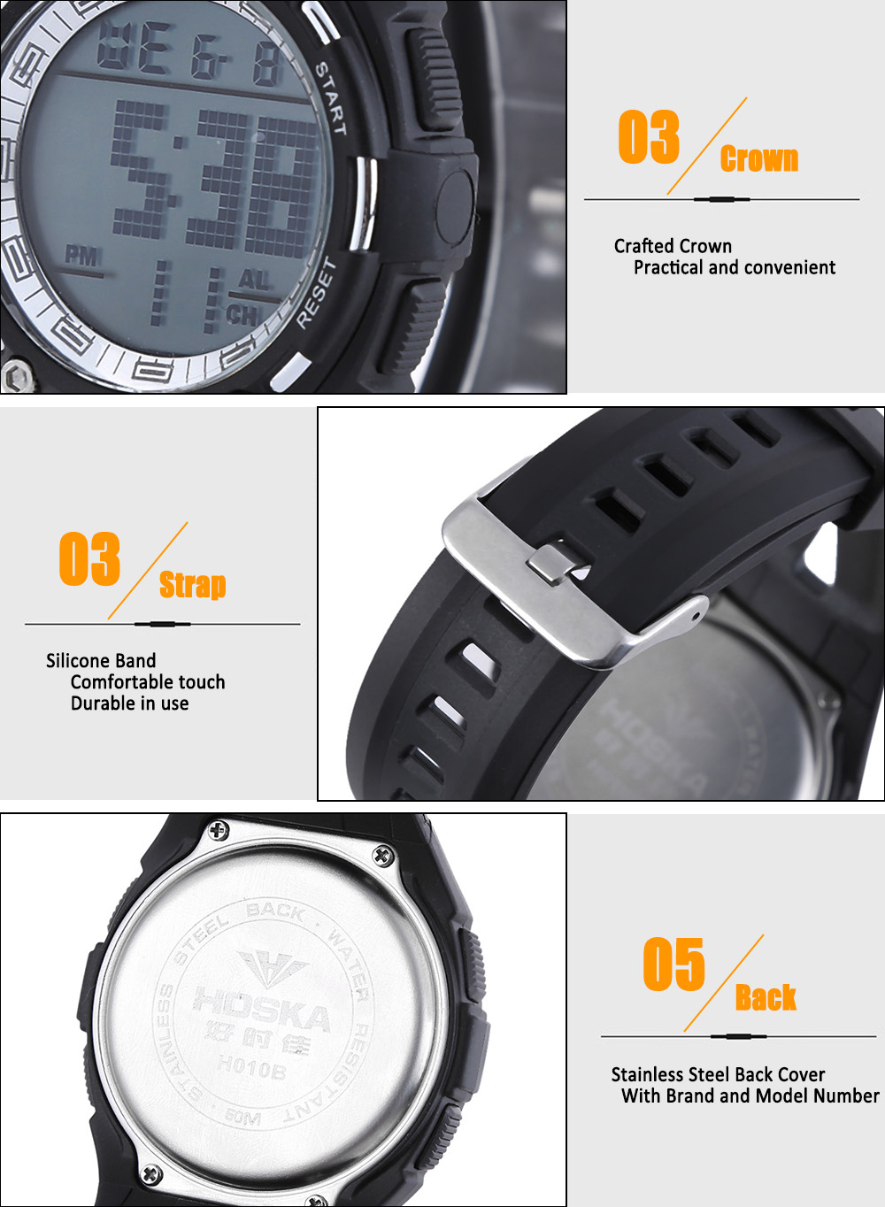 HOSKA H010B Multifunctional LED Digital Children Sport Watch Luminous Chronograph Calendar Alarm Week Display Water Resistance Wristwatch