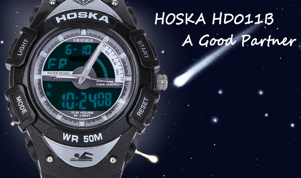 HOSKA HD011B Multifunctional Dual Movt LED Digital Quartz Children Sport Watch Luminous Chronograph Calendar Alarm 50M Water Resistance Wristwatch
