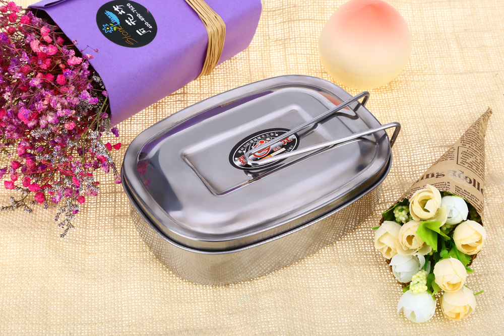 JIANGUANG Stainless Steel Student Tableware Lunch Box Food Container