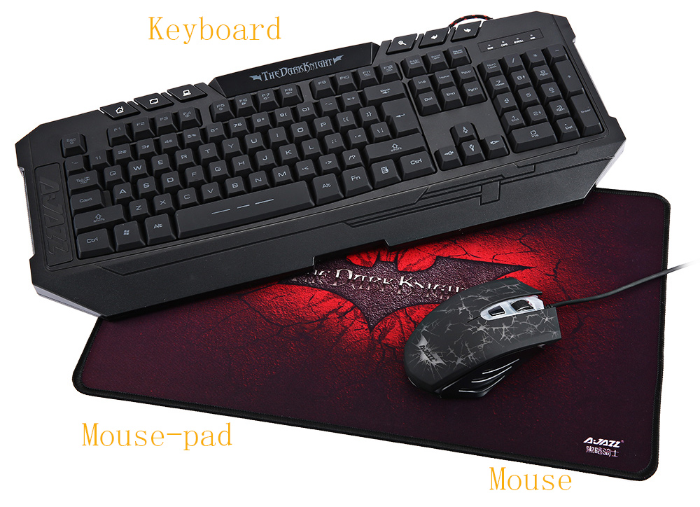 Ajazz Dark Knight Mechanical Hand-feel Gaming Keyboard and Professional 2400DPI Mouse Set with Mouse-pad